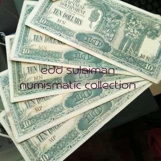 Duit Zaman Jepun Malaya $10