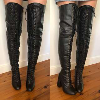 Thigh high boots lace up boho costume