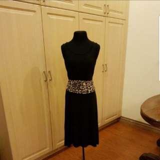 Maxi Sleeveless Black Dress w/ Animal Print Accent Belt