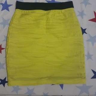 Forever 21 yellow bandage skirt