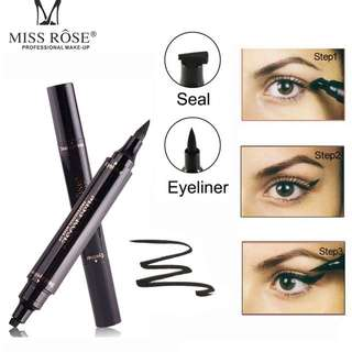 Miss rose Waterproof Black Liquid Eyeliner Pencil  with Seal Stamp Double Head Winged Cat Eye Liner Stamping