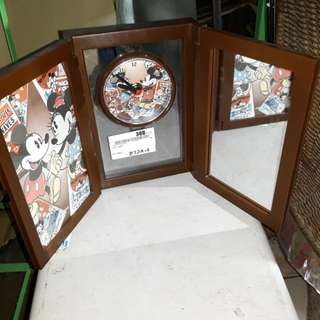 Brand new mickey mouse standing clock! Foldable with mirror!
