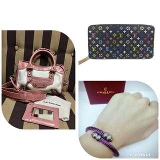 Highend Balenciaga Bag, LV Wallet and Charriol Bangle