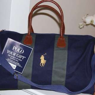 Polo Ralph Lauren Pony Travel Weekender Gym Duffle Bag Navy Blue And Green Nwt