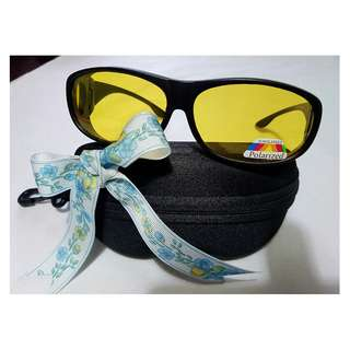 Night Vision Polarized Suncover Surround sunglasses:  Brand NEW: practical as you can wear it over your spectacles:
