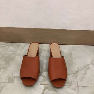 Camel block heels