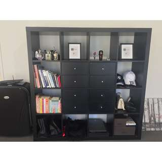 Hardwood Bookcase Storage Unit or Room Divider 4X4 with 8 Drawers