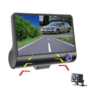 JDM 4 Inch Dashcam Three-way Car Cameras Full HD 1080P Video Recorder 170 degree Wide View Dash Cam G-sensor