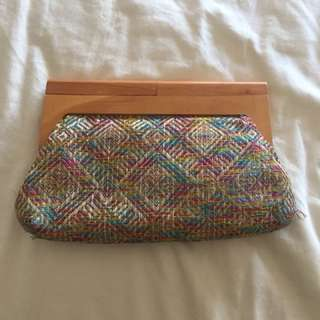 Parfois colorful wooden banig purse