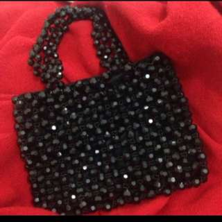 Vanessa black crystal bag with satin lining from Lane Crawford
