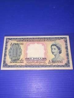 Malaya QEII $1 year 1953