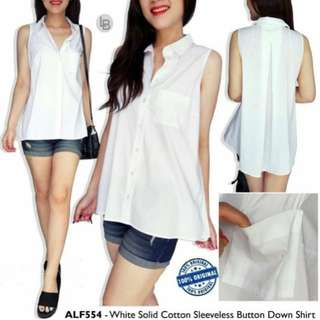 ALFANI White Solid Cotton Sleeveless Button Down Shirt