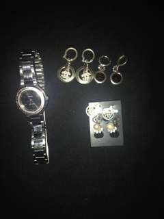 Bundle of Silver Earring and Casio Watch.