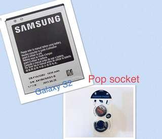 Samsung S2 Battery Class A bundle pop socket