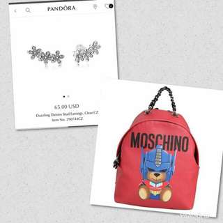 Authentic Pandora Earrings and Highend Moschino Backpack