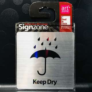"Signage Metallic Sticker: ""KEEP DRY"""