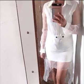 Kemeja/ with transparent /dress white