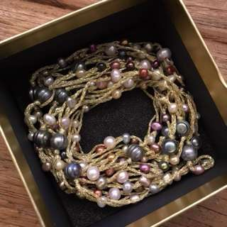 Necklace w cultured beads