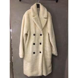 全新正韓羊羔毛長版外套
