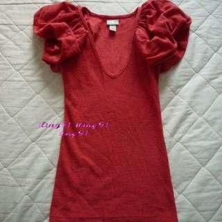 原價近兩萬購入 九成新 美麗諾羊毛 珊瑚紅 公主袖 上衣