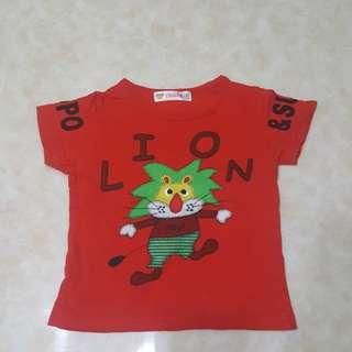 5碼紅色獅子短T $30