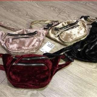 H&M VELVET WAIST BAG