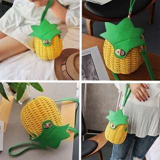 BMT351 - Pineapple Weaved Basket Wristlet / Sling Pouch