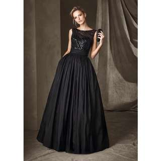 Boat Neck Princess Evening Dress