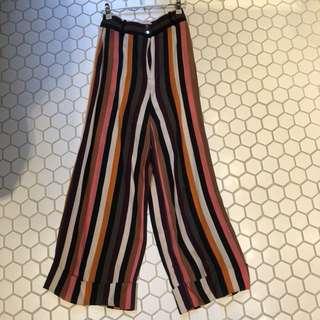 Multi colour stripes wide leg trousers