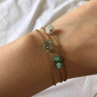 Gem Stone Bracelets in Aquamarine, Emerald, and Opal