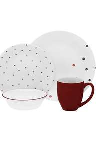Corelle glass dinnerware polka Dotie. 16pcs set