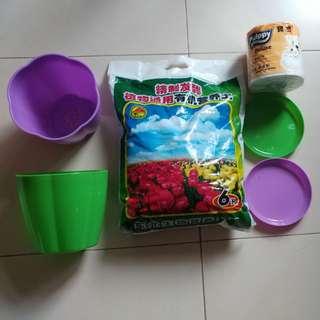 "6L organic soil + 2 pcs 6"" plastic pot 六吋膠花盆2個及六升有机營養土"