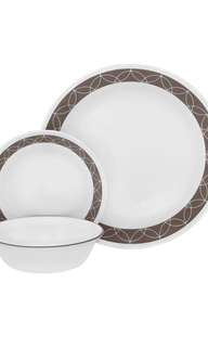 Corelle glass dinnerware sand sketch 18pcs for 6 pax