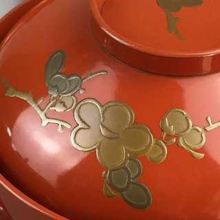 日本老木胎漆器蓋碗3客