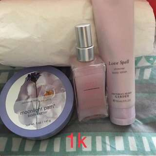 VS and Bath and Body litson and body butter