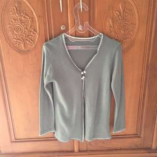 Grey knit cardigan outer