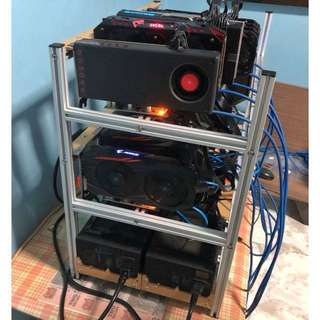 12 GPU Mining Rig | 350+ MH Hashrate ETHERUM | AMD