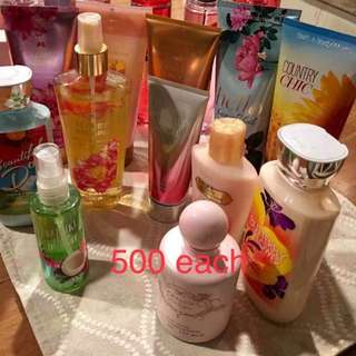 Bath and Bodyworks and Victoria's Secret lotion