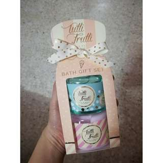 Readystock Tutti Frutti Bath Gift Set mint chocolate chip shower gel + raspberry ripple body lotion 150ml