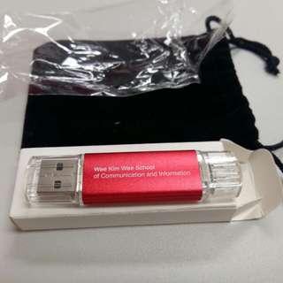 Dual 16GB USB OTG Flask Drive
