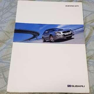 subaru scooby subie impreza range wrx ts blobeye GD sales brochure catalogue catalog technical adjudication equipment options trim car turbo English FHI MIE