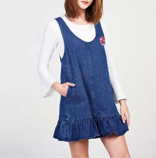 Denim Blue Coloured Rose Embroidered Designed Pockets Overall Fishtail Dress