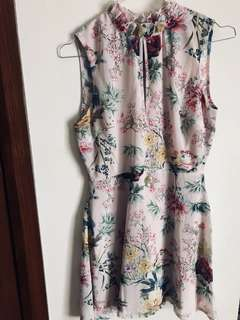 Pink floral cocktail dress