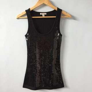 [F21] Black Sequin Top