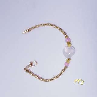 手作-淡色粉晶黃銅手鍊