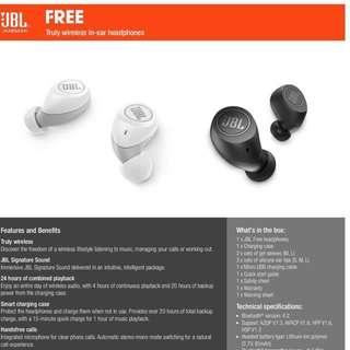 JBL Bluetooth earphones FREE