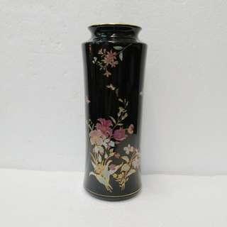 黑地金邊花開富贵花瓶