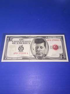 Fantasy Note USA $1 Billion Year 1998 with original packing & Certificate ( not legal tender)