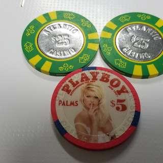 美國賭場籌碼3個