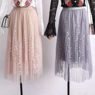 Leaf Embroidery Pleated Lace Skirt
